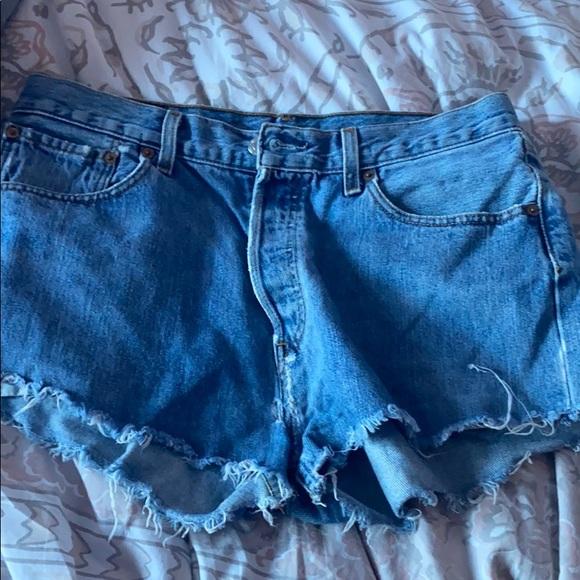 vintage levi's 501 high waisted denim shorts